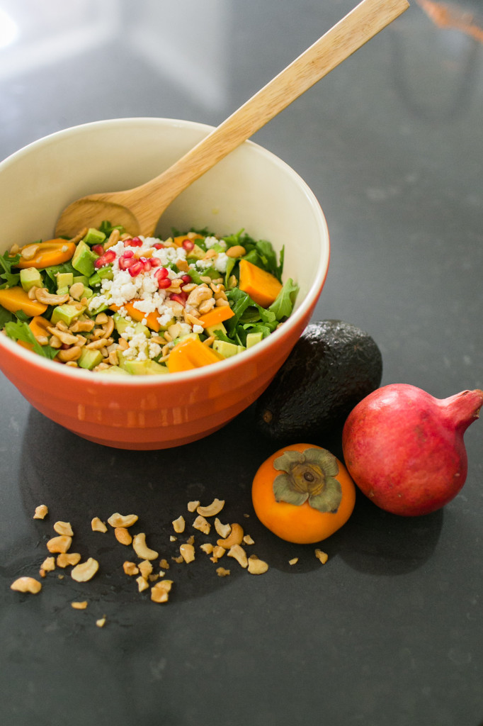 Arugula & Persimmons Fall Salad with Candied Cashews