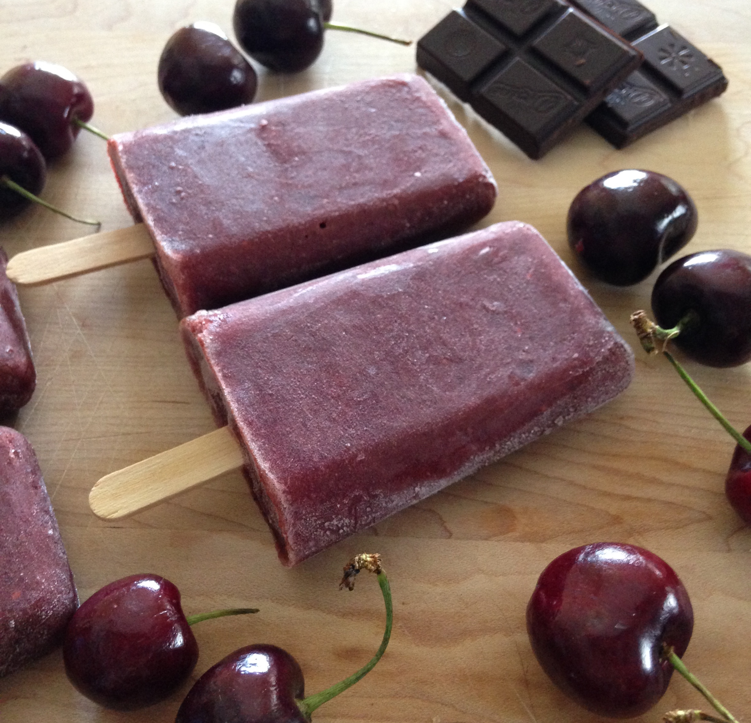 Chocolate-Cherry Popsicles!