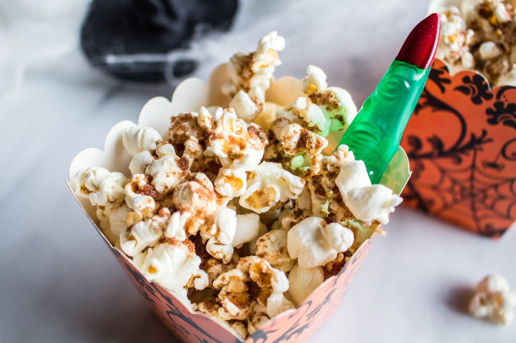 Pumpkin Spiced Popcorn witches finger photo