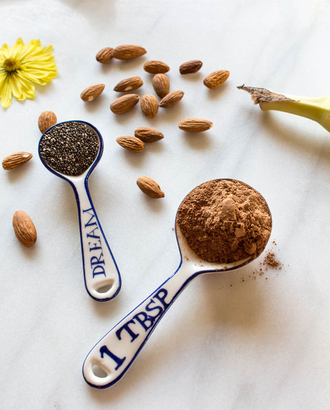Cacao powder and chia seeds photo