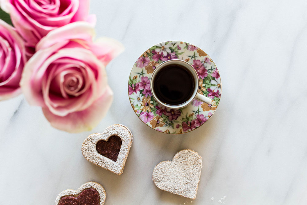 Coffee and Valentine's Day Cookies Photo
