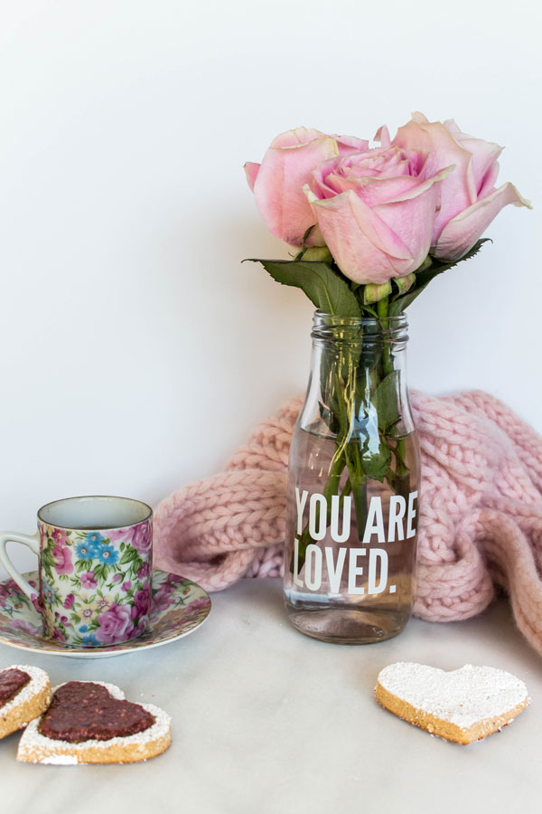 Pink roses, cookies and espresso photo