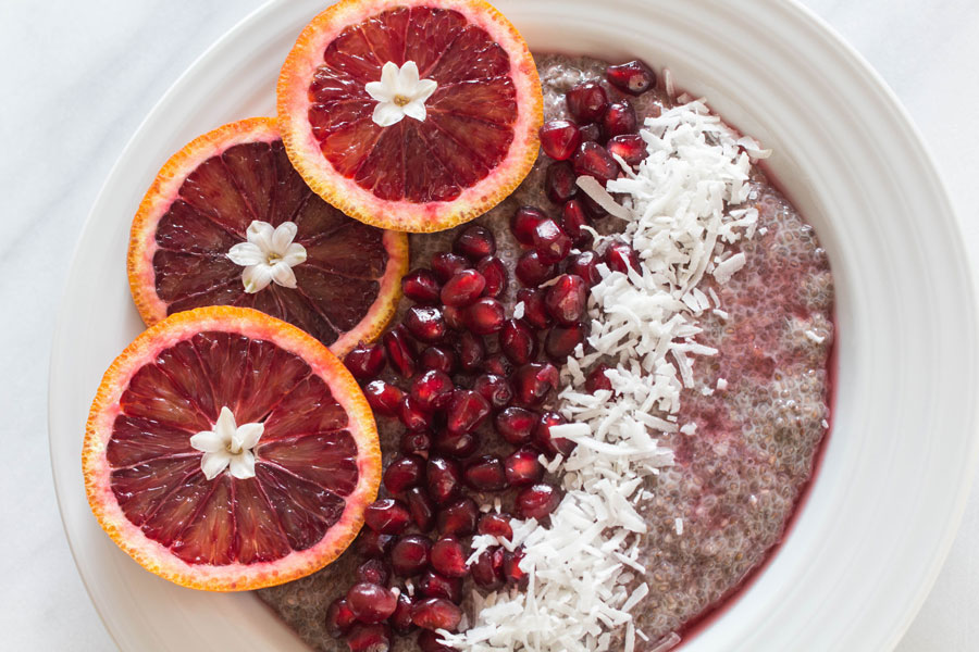 Blood Orange, Pomegranate, coconut flakes on  Chia Seed Pudding