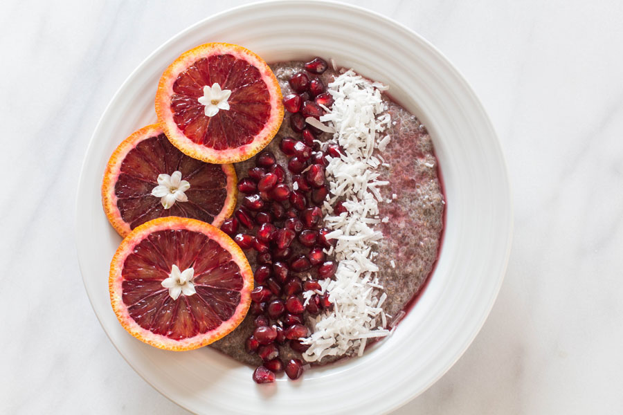 Blood Orange Chia Seed Pudding with coconut and pomegranate seeds