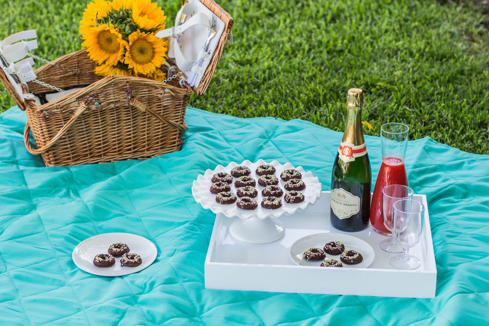 Picnic with Mini Donuts & Strawberry Mimosas