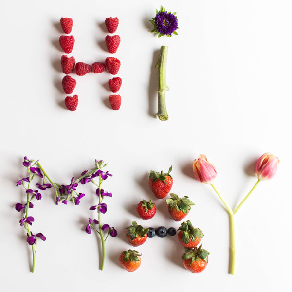Hi May spelled out with fruit