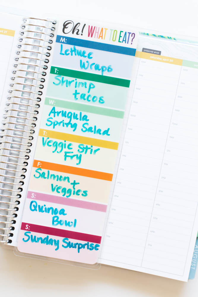 Erin Condren Design Meal Planner Dashboard