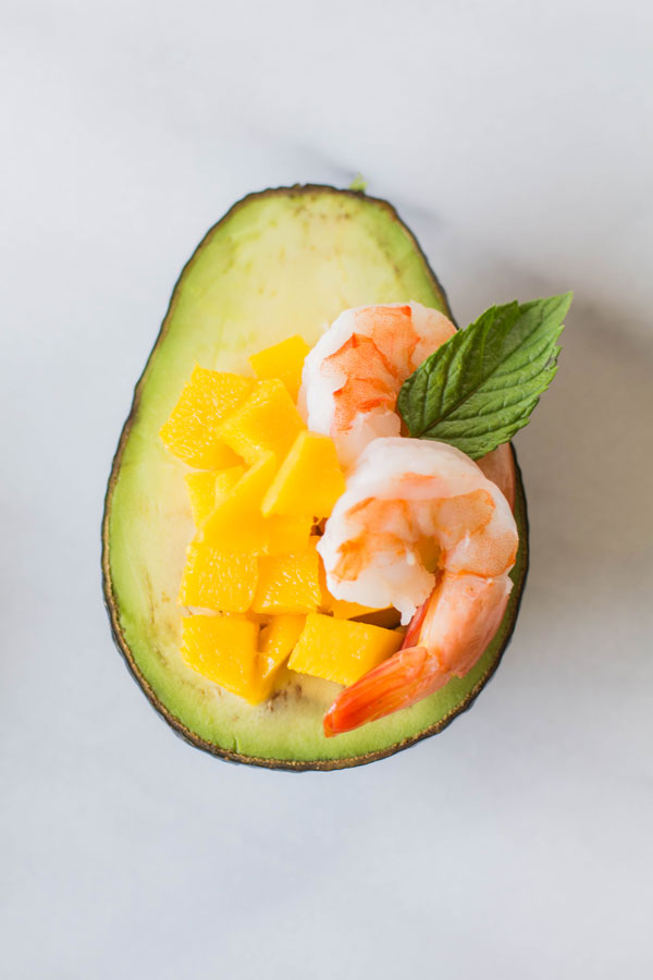 Mango + Shrimp Avocado with Mint