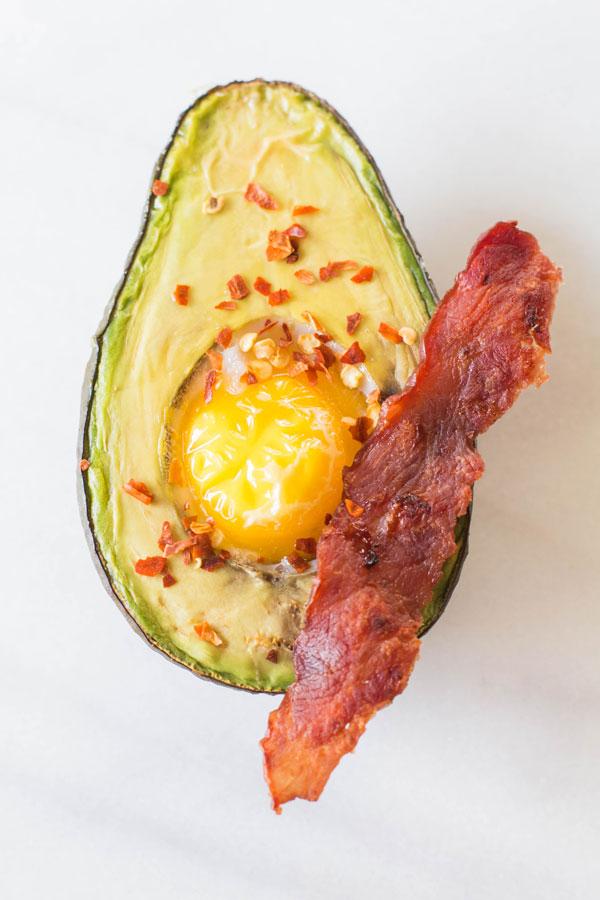 Baked Avocado Egg + Turkey Bacon