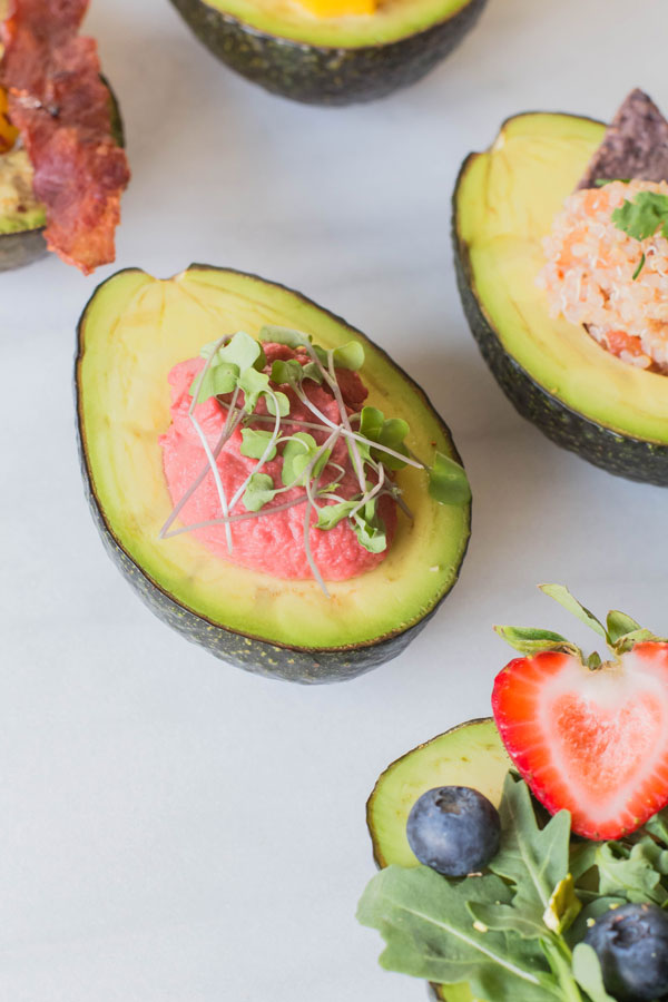 Beet Hummus Avocado with Kale Microgreens