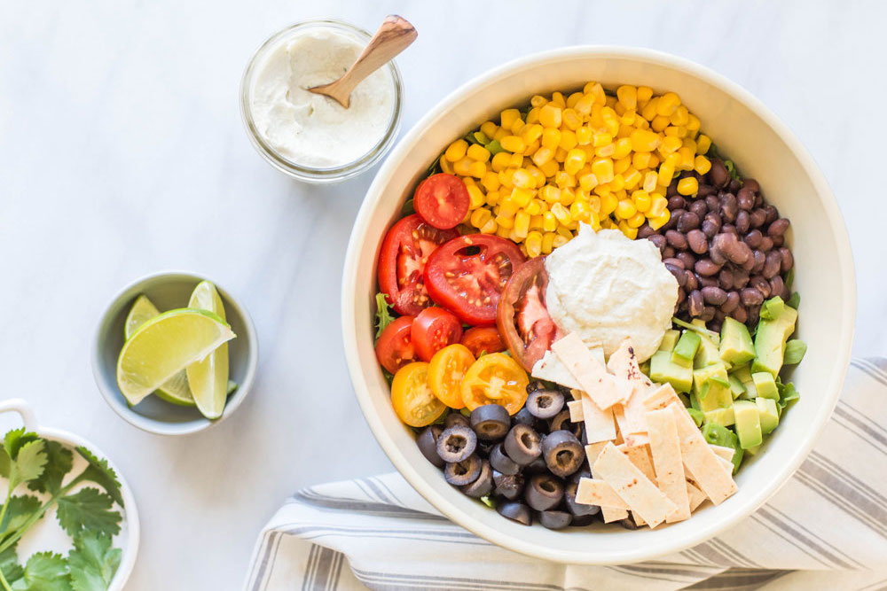 Vegan Taco Salad with Creamy Cilantro Lime Dressing