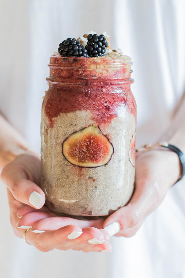 NutritionbyKara holding Lavender Chia Seed Pudding