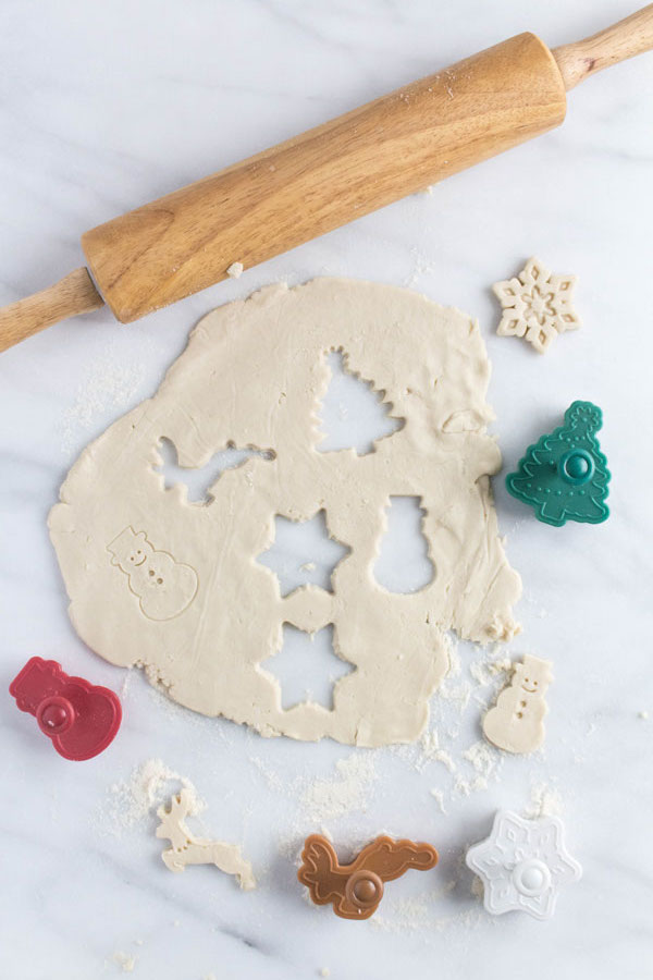 Christmas cutouts with rolling pin